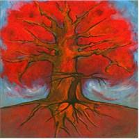 Çizim Kırmızı Ağaç Kanvas Tablo