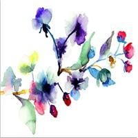 Suluboya Çiçek Kanvas Tablo