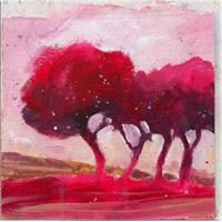 Kırmızı Ağaçlar Kanvas Tablo