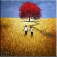Kırmızı Ağaç Ve Çocuklar Kanvas Tablo