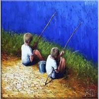 Balık Tutan Çocuklar Kanvas Tablo