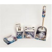 4 Lü Mavi Çiçek Sulu Kare Banyo-Tuvalet Seti-Dchb9456