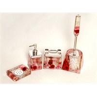 4 Lü Kırmızı Çiçek Sulu Kare Banyo-Tuvalet Seti-Dchb9456