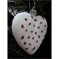 6 Lı Beyaz Kalp Süs