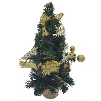 Simli Sarı Süslü Yılbaşı Masa Üzeri Çam Ağacı 30 Cm