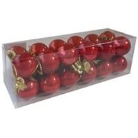 Yılbaşı Çam Ağacı Süsü Kırmızı Renkli 24 Lü Cici Top