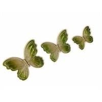 3 lü Dekoratif Taşlı Kelebek Yeşil