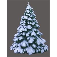 Kar Efektli Çam Ağacı Figürlü Mum