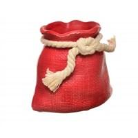 Decotown Halatlı Seramik Masaüstü Kırmızı Mini Saksı