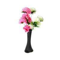 Pembe Beyaz Çiçek 40 cm Kırılmaz Siyah Vazo