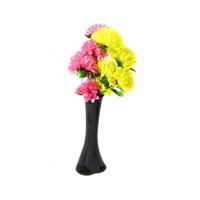 Sarı Pembe Çiçek 40 cm Kırılmaz Siyah Vazo