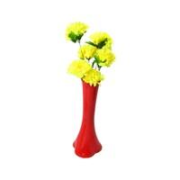 Sarı Çiçek 40 cm Kırılmaz Kırmızı Vazo