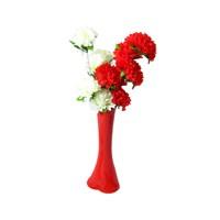 Kırmızı Beyaz Çiçek 40 cm Kırılmaz Kırmızı Vazo