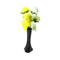 Beyaz Sarı Çiçek 40 cm Kırılmaz Siyah Vazo