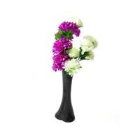 Mor Beyaz Çiçek 40 cm Kırılmaz Siyah Vazo