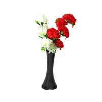 Kırmızı Beyaz Çiçek 40 cm Kırılmaz Siyah Vazo