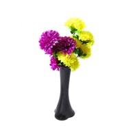 Sarı Mor Çiçek 40 cm Kırılmaz Siyah Vazo