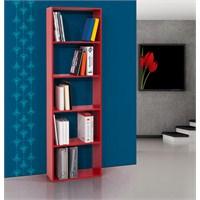 Evmanya Haus 5 Raflı Kitaplık Kırmızı 60 Cm