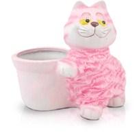 Seramik Pembe Kedi Saksı