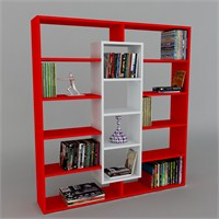 Dekorister Ample Kitaplık Kırmızı/Beyaz