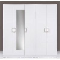 Kenyap Plus 814670 Stella Raflı&Üç Çekmeceli&Askılıklı Beş Kapılı Sonsuz Gardırop-Parlak Beyaz