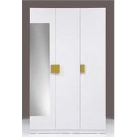 Kenyap Plus 814946 Stella AYNALI Askılıklı&Raflı Üç Kapılı Sonsuz Gardırop-Parlak Beyaz