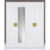 Kenyap Plus 814960 Stella AYNALI Raflı&Üç Çekmeceli Dört Kapılı Sonsuz Gardırop-Parlak Beyaz