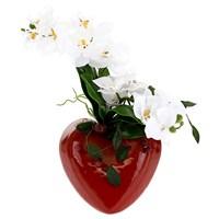 Kalp Vazo Orkide Aranjman