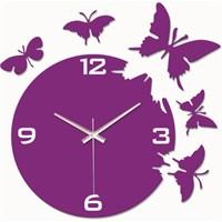 Mor Kelebekler Duvar Saati