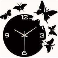 Siyah Kelebekler Duvar Saati