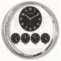 60 Cm Krom Metal 5'Li Dünya Saati
