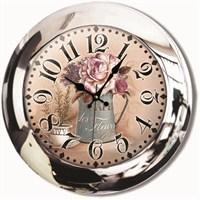 Çiçekler Metal Krom Duvar Saati