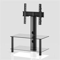Sonorous Neo 80-C-Blk Siyah Alüminyum Gövde , Şeffaf Cam Askı Aparatlı Tv Sehpası