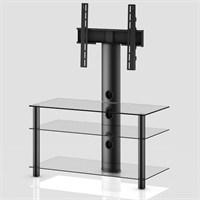 Sonorous Neo 953-C-Blk Siyah Alüminyum Gövde , Şeffaf Cam Askı Aparatlı Tv Sehpası