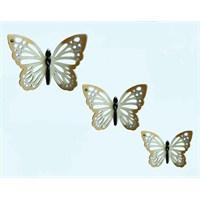 Krem Renkli 3Lü Kelebek Nazarlık