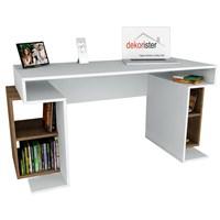 Dekorister Monument Çalışma Masası Beyaz/Ceviz