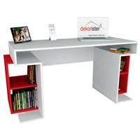 Dekorister Monument Çalışma Masası Beyaz/Kırmızı