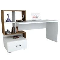 Dekorister Bloom Çalışma Masası Beyaz/Ceviz