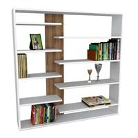 Dekorister Handy Kitaplık Beyaz/Ceviz