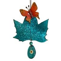 Turkuaz Renkli Yaprak Üzeri Kelebek Nazarlık
