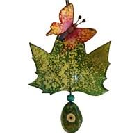 Yeşil Yaprak Üzeri Kelebek Nazarlık