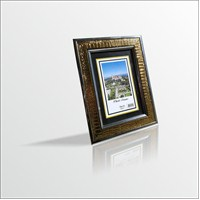 10x15 cm Altın Varak Deri Desenli Camlı Çerçeve