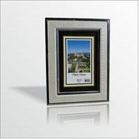 10x15 cm Gümüş Deri Desenli Camlı Çerçeve