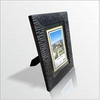 10x15 cm Siyah Deri Desenli Cam Muhafazalı Çerçeve