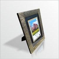 15x21 cm Siyah Zeminde Varak Desenli Camlı Çerçeve