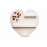 Dekoratif Kalp Raf-Beyaz