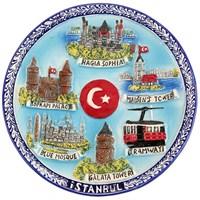 16Cm İstanbul Temalı Renkli Tabak