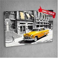 Sarı Taksi Led Işıklı Kanvas Tablo 50X70 Cm