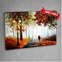 Park Yürüyüşü Led Işıklı Kanvas Tablo 50X70 Cm