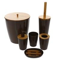 Bosphorus Bambu Kahverengi Melamin Banyo Set 6Lı
